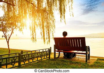 hangzhou, oeste, lago, para mirar, el, ocaso