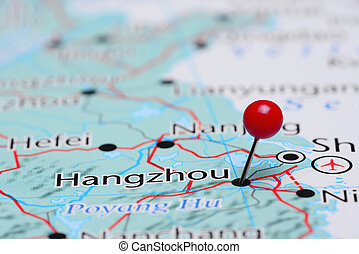Hangzhou pinned on a map of Asia - Photo of pinned Hangzhou...