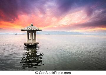hangzhou scenery in sunset,beautiful the west lake...