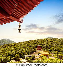 Hangzhou - Ancient pagoda temple in Hangzhou high shot