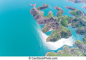 hangzhou thousand island lake in sunlight
