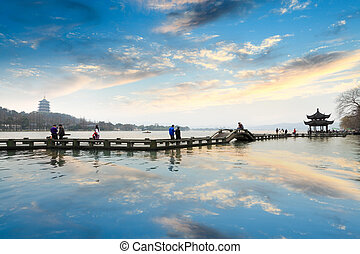 the west lake at afterglow in hangzhou, China