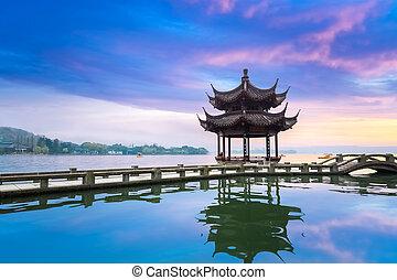 landscape of west lake in sunset ,hangzhou, China