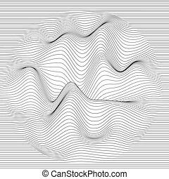 hangzik, egyenes, vektor, oscillation., háttér., göndörített, elvont, grayscale, lines., lenget, finom, beijedt, hullámos, felszín, csíkos, distortion., monochrome., texture., waves., backdrop.