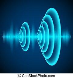hangzik, elvont, digital ábra, lenget, sötét, háttér., vektor, radiális, hanglokátor, szinusz, wave., waves.