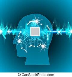 hangzik, fogalom, háttér, dolgozó, banda, ábra, rezgő, érverés, robot, microcircuit, izzó, vektor, agyonüt, állati tüdő, emberi, lenget, fej, technológia, parázslás