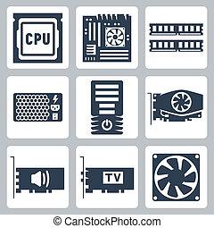 hangzik, hardver, vektor, becsomagol, erő, ikonok, hűtőtáska, alaplap, egység, döngöl, kártya, cpu, számítógép, video, tv-tuner, set: