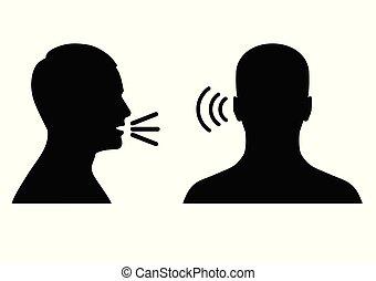 hangzik, jelkép, beszél, ikon, hang, vagy, hallgat