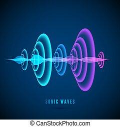 hangzik, szín, elvont, digital ábra, lenget, sötét, háttér., vektor, radiális, hanglokátor, szinusz, wave., waves.