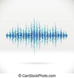hangzik, waveform, elkészített, szétszóródott, herék