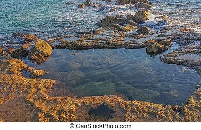 hanikra, 海岸, 西部, rosh, 地域, 地中海, israel., galilee, 北, 地区