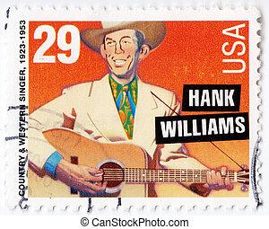 hank, 1993, :, united states, sanger, frimærke, land, viser,...
