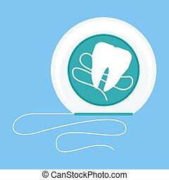 Hank Dental Flossing Design Flat Concept