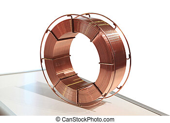 The coil of a copper wire for metal welding by the automatic device