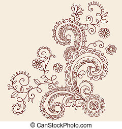 Hanna Paisley Vines Doodle Vector - Hand-Drawn Henna Mehndi...