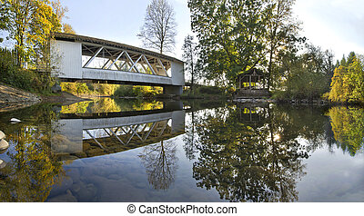 Hannah Covered Bridge over Thomas Creek Oregon Panorama
