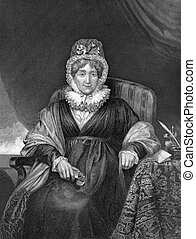 Hannah More (1745-1833) on engraving from 1873. English religious writer and philanthropist. Engraved by unknown artist and published in ''Portrait Gallery of Eminent Men and Women with Biographies'',USA,1873.