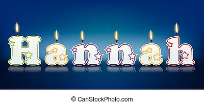 HANNAH written with burning candles - vector illustration