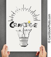 hannd, γενική ιδέα , λέξη , δείχνω , ελαφρείς , δημιουργικός , χαρτί , σχεδιάζω , φόντο , βολβός