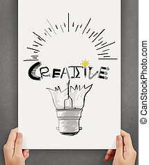 hannd show light bulb and CREATIVE word design on paper background as concept