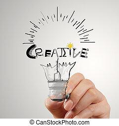 hannd, tekening, gloeilamp, en, creatief, woord, ontwerp,...