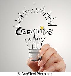 hannd, zeichnung, glühlampe, und, kreativ, wort, design,...