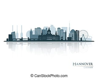 Hannover skyline silhouette with reflection.