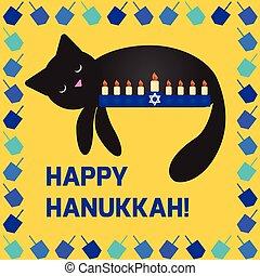 hannucat - Cute hanukkah card with a cat sleeping near the...