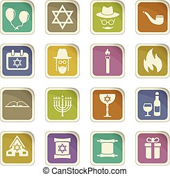 hannukah icon set - hannukah vector icons for user interface...