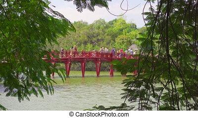 hanoï, pont, fils, voyage, rouges, bois, ngoc, city., ...