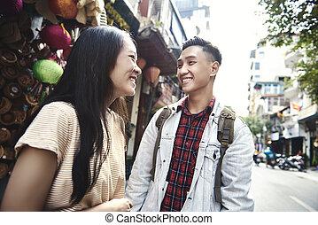 hanoï, ville, couple, heureux