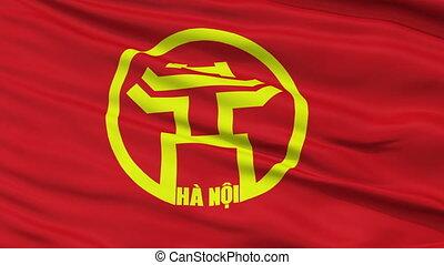 Hanoi City Close Up Waving Flag