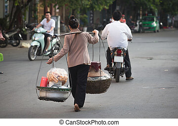 Life of vietnamese vendor in HANOI, VIETNAM