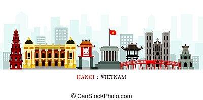 Hanoi Vietnam Landmarks Skyline - Cityscape, Travel and...