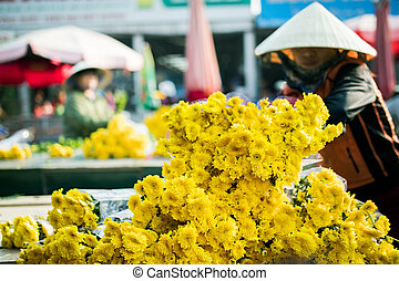 HANOI VIETNAM - NOV3,2017 : vietnamese flower seller preparing yellow in bicycle basket for selling in hanoi city