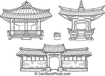 hanok, coreano, arquitectura tradicional, vector, contorno, conjunto