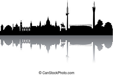 Hanover Silhouette abstract - Hanover Silhouette black on a...