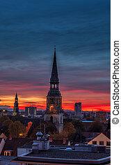 hanower, barwny, niebo, kreuzkirche, zachód słońca, kościół