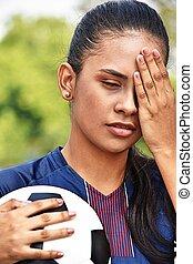 hansúlyos, fiatal, női tízenéves kor, futball játékos