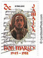 hans, 1981, stämpel, jamaika, noteringen, sång, -, detta, :, tryck, kärlek, guppa, cirka, marley