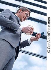 hans, affär, läsning, smartphone, sms, man, le