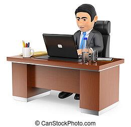 hans, arbejde kontor, laptop, forretningsmand, 3