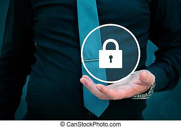 hans, begrepp, låsa, hålla lämna, affärsman, säkerhet