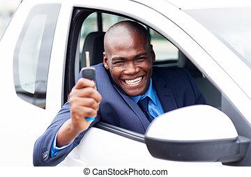 hans, bil, insida, afrikansk, fordon, köpare, färsk