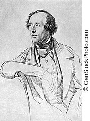 Hans Christian Andersen (1805-1875) on antique print from 1899. Danish author, fairy tale writer and poet noted for his children's stories. After Vogel and published in the 19th century in portraits, Germany, 1899.