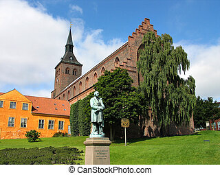Hans Christian Andersen Odense Denmark - Sculpture statue of...