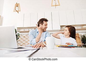 hans, datter, far, anden, hver, high-fiving