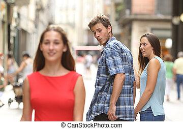 hans, illoyale, kigge, en anden, girlfriend, pige, mand