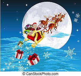 hans, jultomten, släde