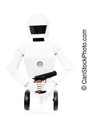 hans, krig, gevär, isolerat, robot, bakgrund, främre del, militär, vit, räcker, eller